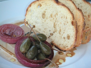 Pate, bread and olives at The Wharf Restaurant, 2006